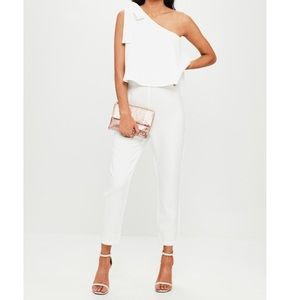 Missguided One Shoulder White Jumpsuit